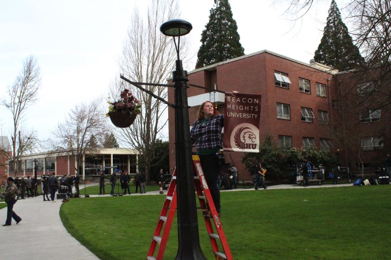 STAFF PHOTO: OLIVIA SINGER - Crew members helped transform Pacific's campus into 'Beacon Heights University.'