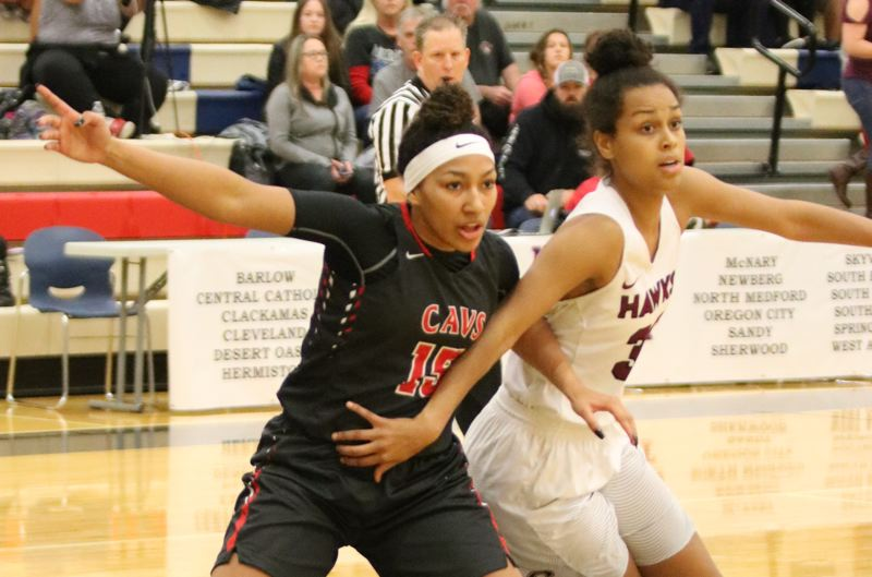 PAMPLIN MEDIA: JIM BESEDA - Clackamas junior Kalani Hayes (left) was named the Mt. Hood Conference girls' basketball Player of the Year in voting by the league's coaches.