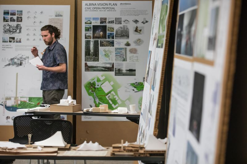 PAMPLIN MEDIA GROUP: JON HOUSE - University of Oregon architecture student Michael Moran gives a presentation on his performance hall proposal for the Albina Vision Project.