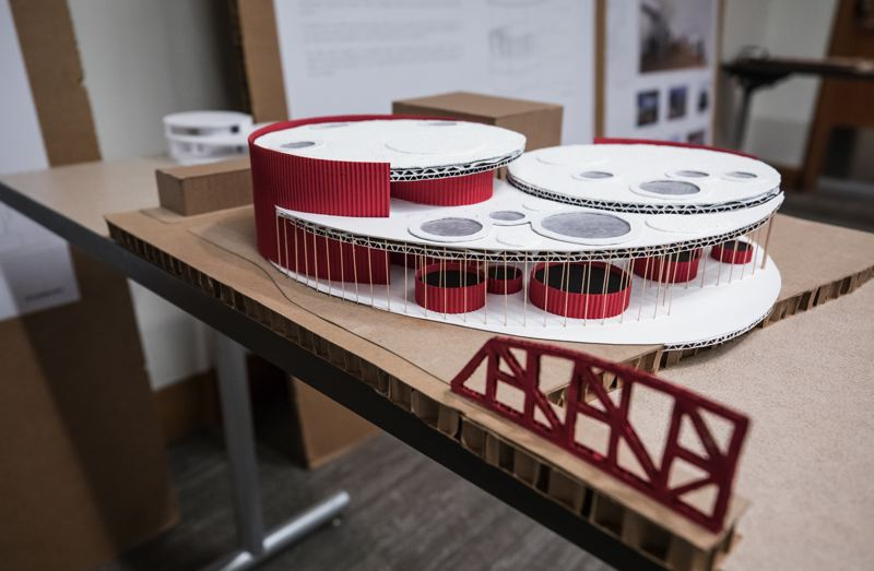 PAMPLIN MEDIA GROUP: JON HOUSE - A mockup of a performing arts center for the University of Oregons Albina Vision project.