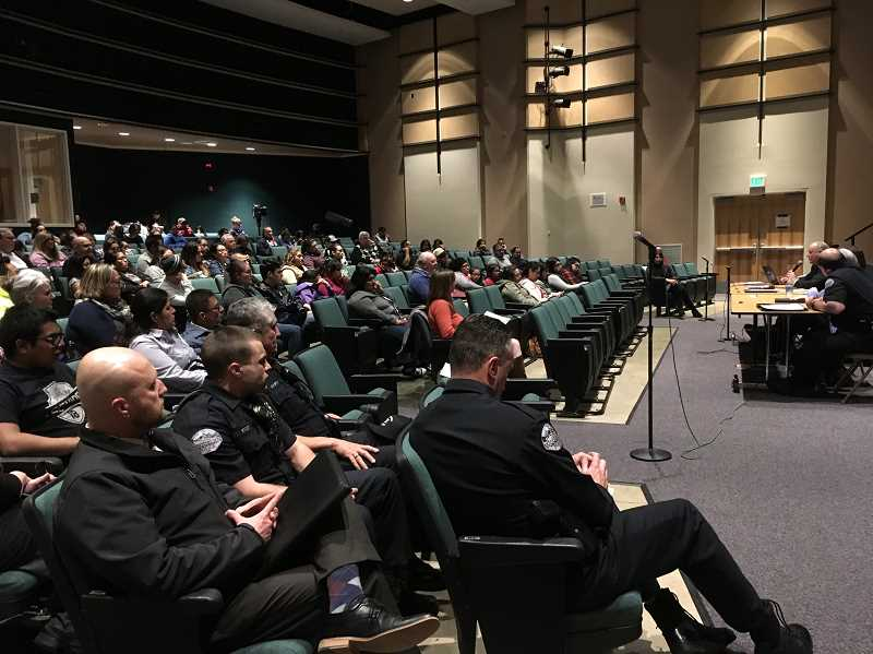 LINDSAY KEEFER - About 150 parents attended the March 19 public forum at Woodburn High School concerning how the district and police handled a recent social media threat and what they can do better moving forward..