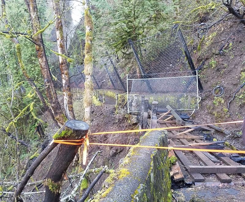 CONTRIBUTED PHOTO: RACHEL PAWLITZ  - The Shady Creek footbridge, shown here, must be rebuilt before visitors will be able to trek up to the iconic Benson Bridge.