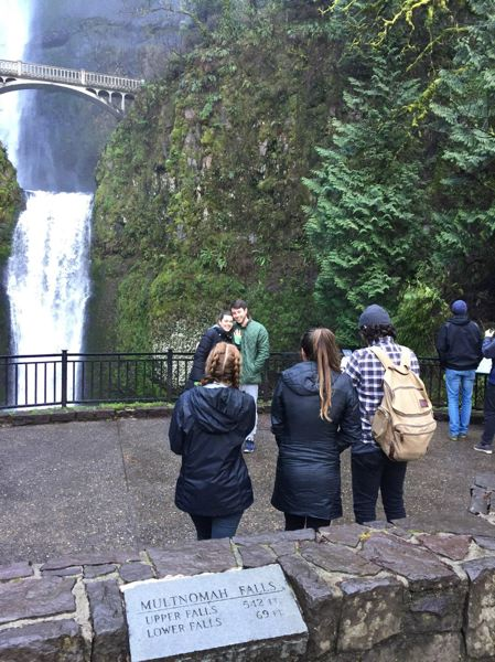 CONTRIBUTED PHOTO: RACHEL PAWLITZ  - This young man proposed to his girlfriend shortly after the lower viewing platform reopened at Multnomah Falls on Monday. March 19.