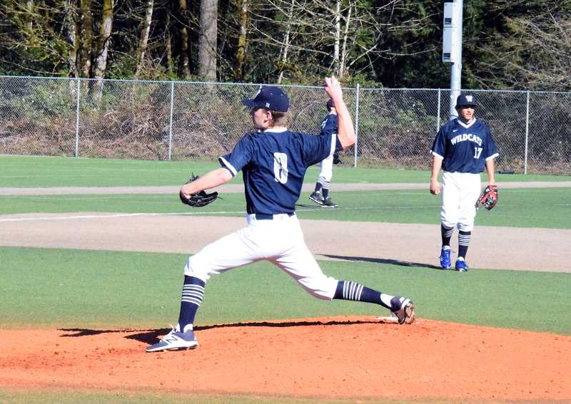 SPOKESMAN PHOTO: TANNER RUSS - Senior Ben VavRosky slings a pitch against a Lincoln batter on Mar. 20. Wilsonville won its third straight game 18-6.