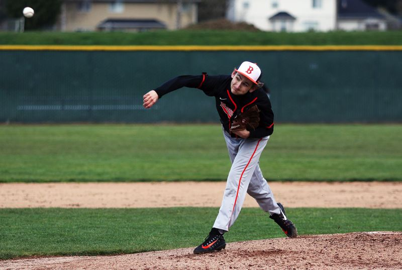 TIMES PHOTO: DAN BROOD - Beaverton sophomore Cooper Martineau fires in a pitch during the Beavers non-league game at Tualatin last week.