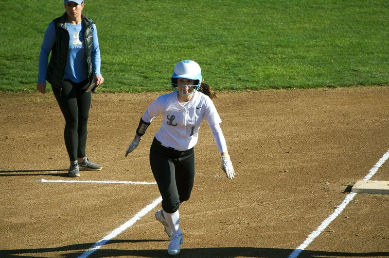 SUBMITTED PHOTO - Lakeridge's Sara Nyland leads off third base during her team's 14-2win at Beaverton on Monday.