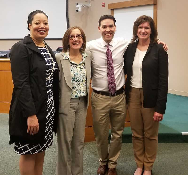 REVIEW PHOTO: ANTHONY MACUK - State Rep. Andrea Salinas and state Sen. Rob Wagner stand with Clackamas County Judges Ulanda Watkins (left) and Ann Lininger (right) at a Town hall meeting on Tuesday at Lake oswegos City Hall.