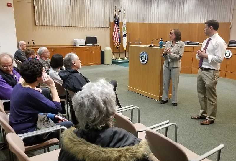 REVIEW PHOTO: ANTHONY MACUK - State Rep. Andrea Salinas and state Sen. Rob Wagner  spoke to a crowd of roughly 40 Lake Oswego residents at a Town Hall event on Tuesday.
