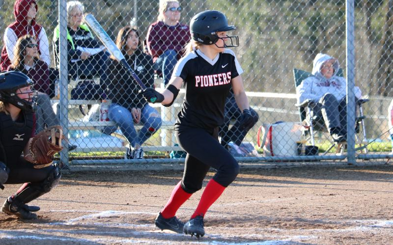 PAMPLIN MEDIA: JIM BESEDA - Oregon City's Allie Edwards went 2 for 4 with a single and a three-run, inside-the-park home run to help lift the Pioneers to a 6-1 non-conference softball home win Tuesday over Franklin.