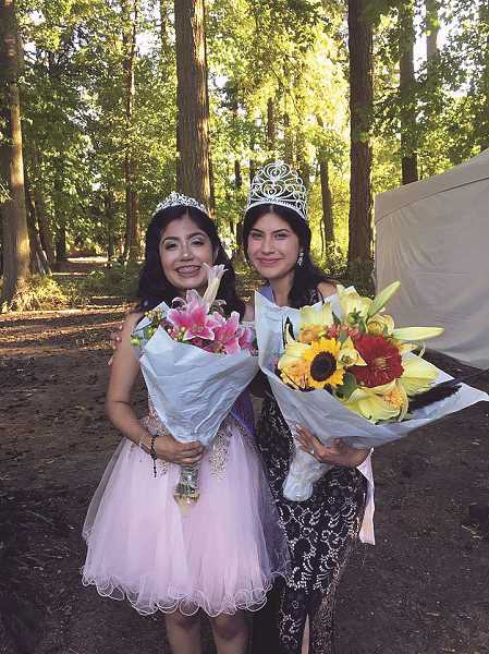 COURTESY PHOTO: CITY OF WOODBURN - Pictured are the 2017 Fiesta Queen Daisy Tapia (right) and First Princess Claudia Perez Correa (left) at last year's Fiesta Mexicana in Woodburn.