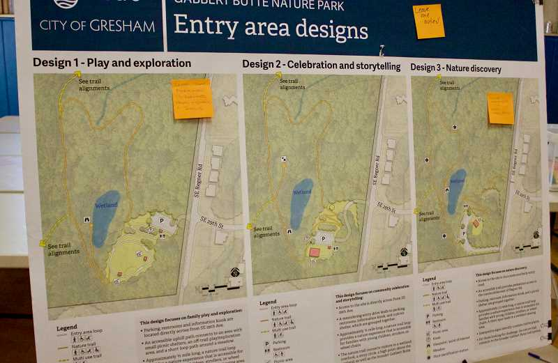 OUTLOOK PHOTO: CHRISTOPHER KEIZUR - Three of the proposed options for the main entry to Gabbert Butte Nature Park.