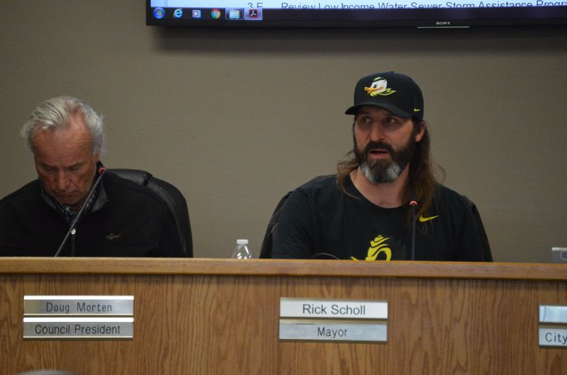 SPOTLIGHT PHOTO: NICOLE THILL - St. Helens Mayor Rick Scholl discusses the topic of establishing a ferry system during a City Council meeting Wednesday, March 21, which garnered support from a majority of the council. Councilors, however, cautioned that moving discussions forward could be difficult.