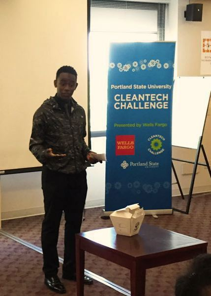 COURTESY PSU - Catlin Gabel student Ben Kitoku explains his invention, a compostable compost container, when he was a finalist in the  2015 Cleantech Challenge.