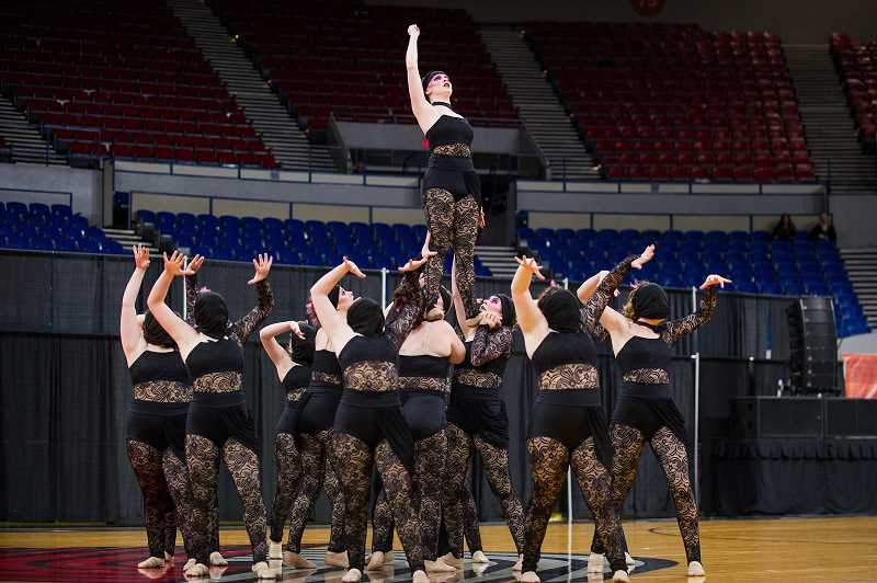 PMG PHOTO: JAIME VALDEZ - Scappoose High School Vision Dance took home a fifth-place title in the 4A/3A/2A/1A division of the Oregon School Activities Association's dance and drill state competition Saturday. March 17.