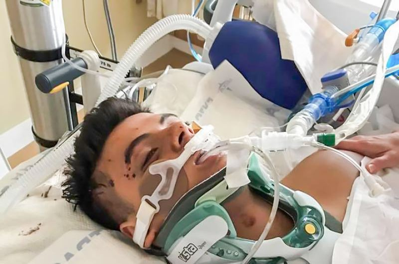 CONTRIBUTED PHOTO: A GO FUND ME ACCOUNT - Bobby Asa in the hospital shortly after the two-car collision that left him seriously injured.