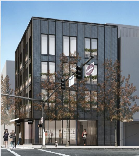 SOURCE: CITY OF PORTLAND FILES - A rendering of the proposed four-floor building with ground floor retail, apartment flats and two-floor townhomes.