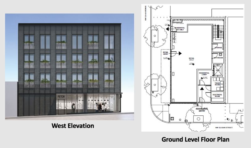 SOURCE: CITY OF PORTLAND - Plans submitted to the city show the elevation of the street rising along the retail storefront, and the ground level floor plan.