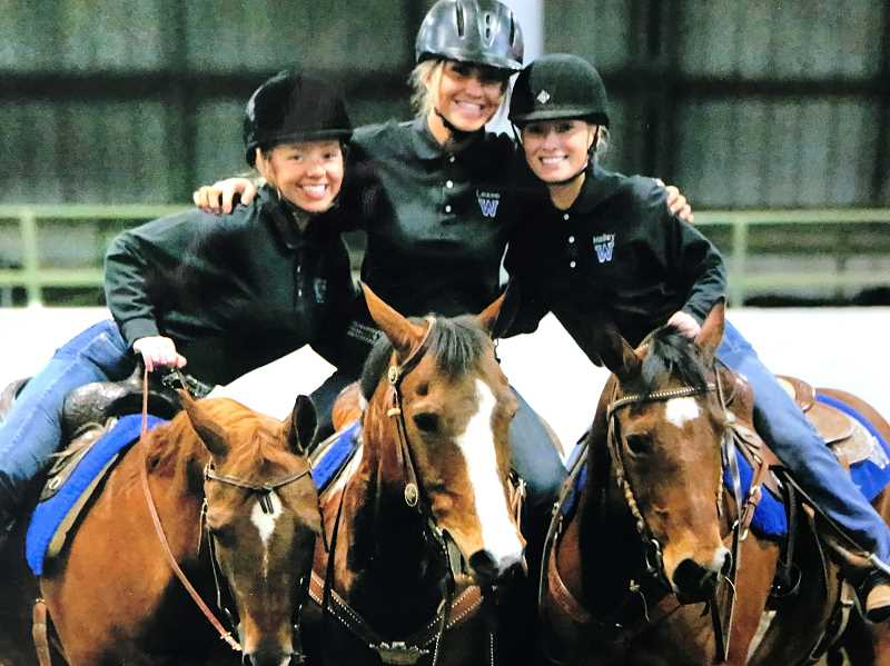 SUBMITTED PHOTO - Team captains Hailey Giddings, Lexee Padrick, and Carrie Padrick after a team penning event. Wilsonville took second place overall at the second of three league meets.