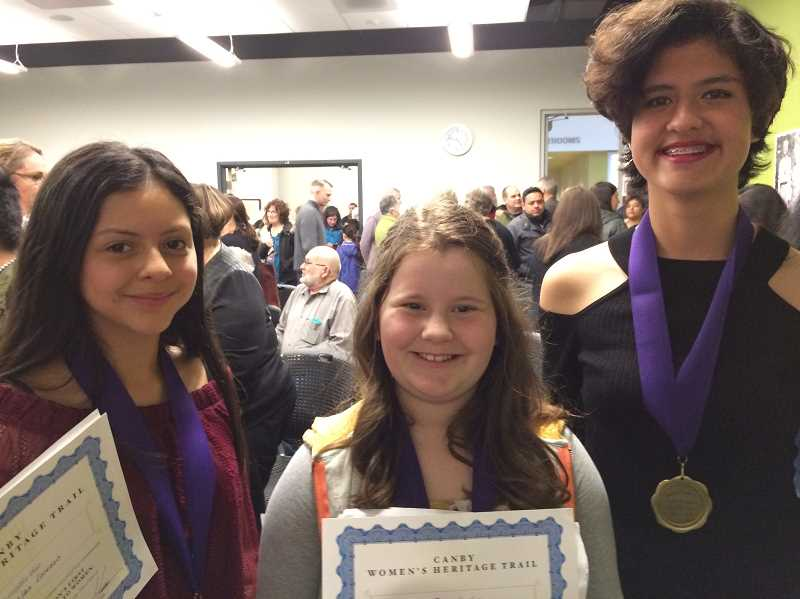 CAROL ROSEN - Heritage Trail essay contest winners (from left) Michelle Barajas Lorenzo from Trost Elementary, Norah Cordill from Lee Elementary and Meridian Lattig from Canby High School.