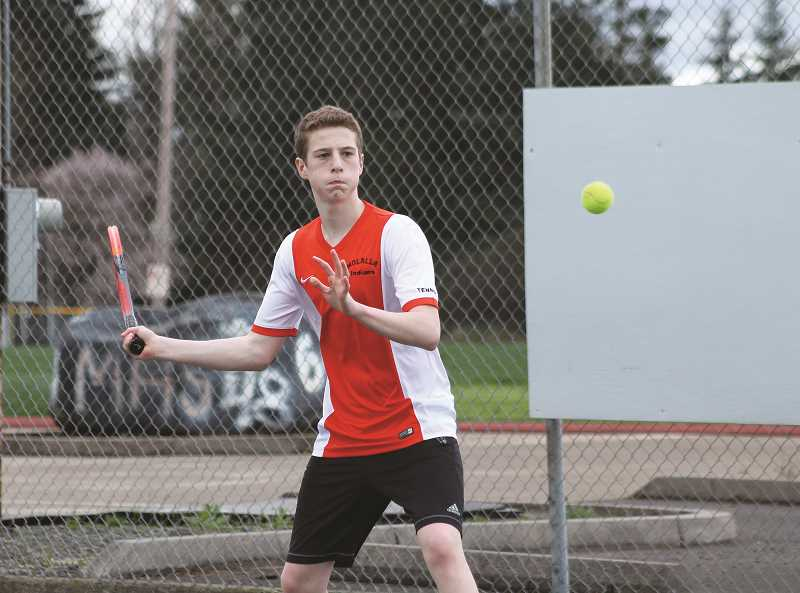 Logan Child is making the conversion from a double player to No. 1 singles for Molalla.