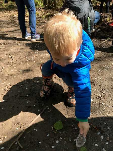 PHOTO COURTESY OF THE CITY OF LAKE OSWEGO - During the Preschool Nature Walk in Springbrook Park, preschoolers discover the forest with exploration buckets containing a magnifying glass, bug catcher, a digging tool and much more.