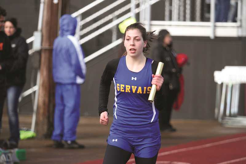 PHIL HAWKINS - Freshman Katie Hanson won the 200-meter and 400-meter events at the Mid-Valley Matchup on Thursday at Molalla High School.