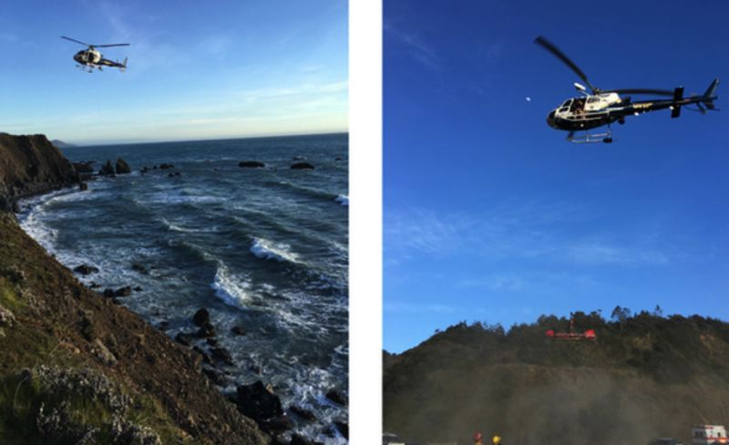 POLICE PHOTO - A helicopter responds to the crash site in California.