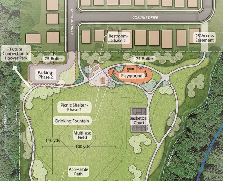 RENDERING COURTESY OF CPRD - A preliminary schematic depicts several of the features the Chehalem Park and Recreation District is proposing to include in Friends Park, a nine-acre neighborhood park near Sportsman Airpark that it hopes to develop as soon as 2019 if it can secure a grant from the state.