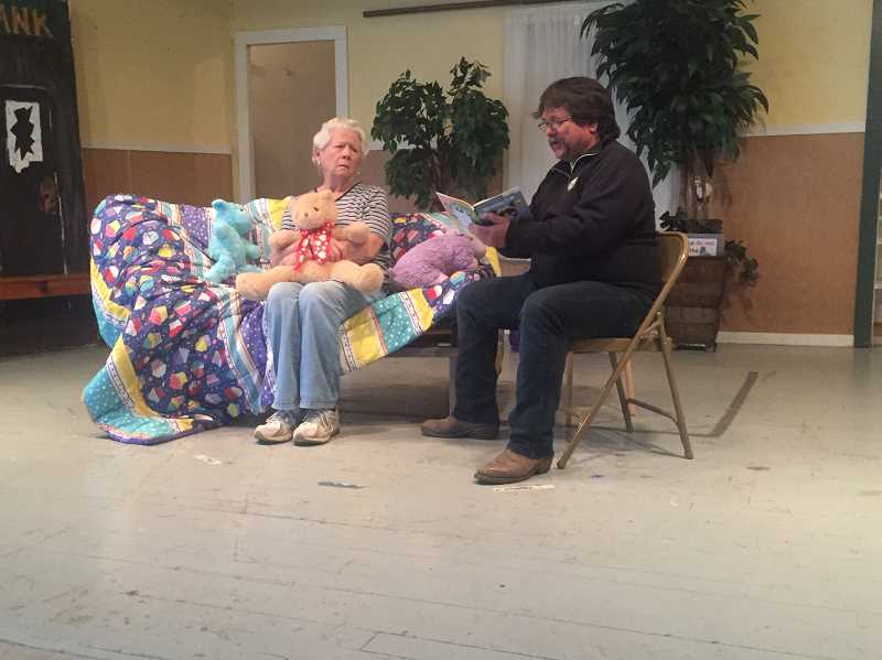 ESTACADA NEWS PHOTO: EMILY LINDSTRAND - Jeanette Wyman and Greg Jeppeson are featured in a skit about a daughter who does not want to go to sleep. The skit is completely improvised.