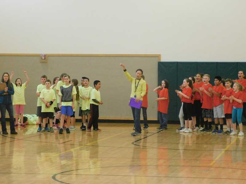 ESTACADA NEWS PHOTO: EMILY LINDSTRAND - Students and coaches in the River Mill Elementary sports challenge are truimphant.