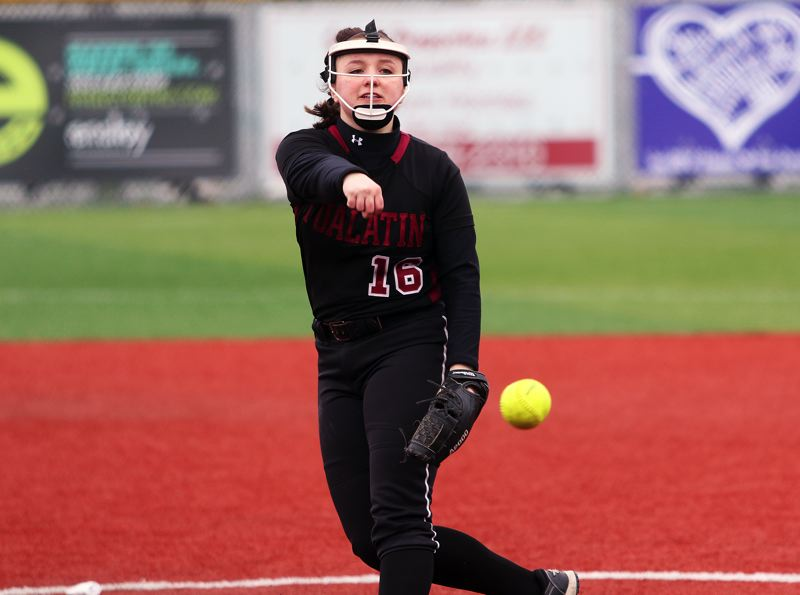DAN BROOD - Tualatin senior Megan Woodward fires in a pitch during the first inning of the Wolves' win over South Eugene.