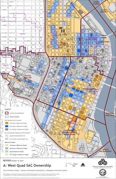 SOURCE: CITY OF PORTLAND - A map of the citys proposed height allowance changes from October 2017 shows Block 33 as the only spot zone with increased height in all of Old Town Chinatown.