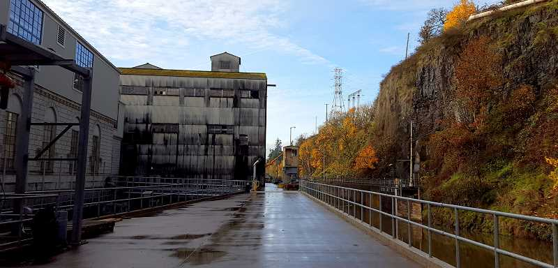 The entryway to the old section of the mill with the Willamette Falls Locks on the right.