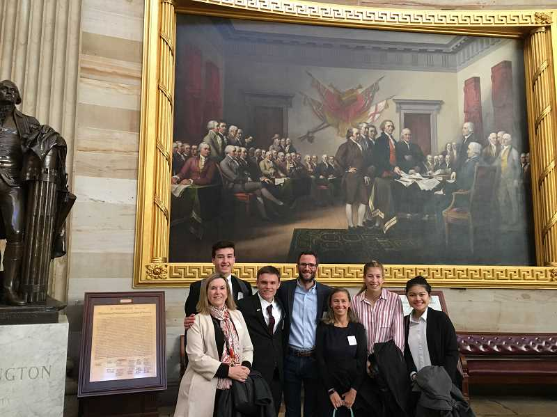 PHOTO COURTESY OF CITY OF LAKE OSWEGO - Lake Oswego's City Council and Youth Leadership Council delegates tour the U.S. Capitol in Washington, D.C. From left: Jackie Manz, Michael Murray, Kyle Langford, Joe Buck, Jenny Slepian, Jensen Kaelin and Annie Choo.