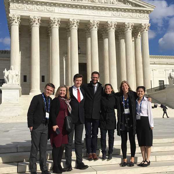 PHOTO COURTESY OF CITY OF LAKE OSWEGO - On the steps outside the U.S. Supreme Court (from left): Kyle Langford, Jackie Manz, Michael Murray, Joe Buck, Jenny Slepian, Jensen Kaelin and Annie Choo.
