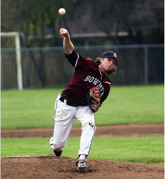 TIMES PHOTO: DAN BROOD - Sherwood senior Riley Aggson is part of a deep Bowmen pitching staff going into the 2018 Three Rivers League season.
