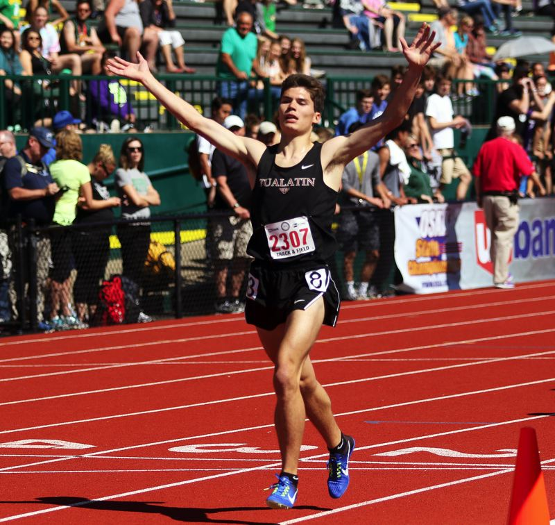 TIMES PHOTO: DAN BROOD - Tualatin High School senior Adam Klein ran to third place in the 3,000-meter run at last years Class 6A state track and field meet.