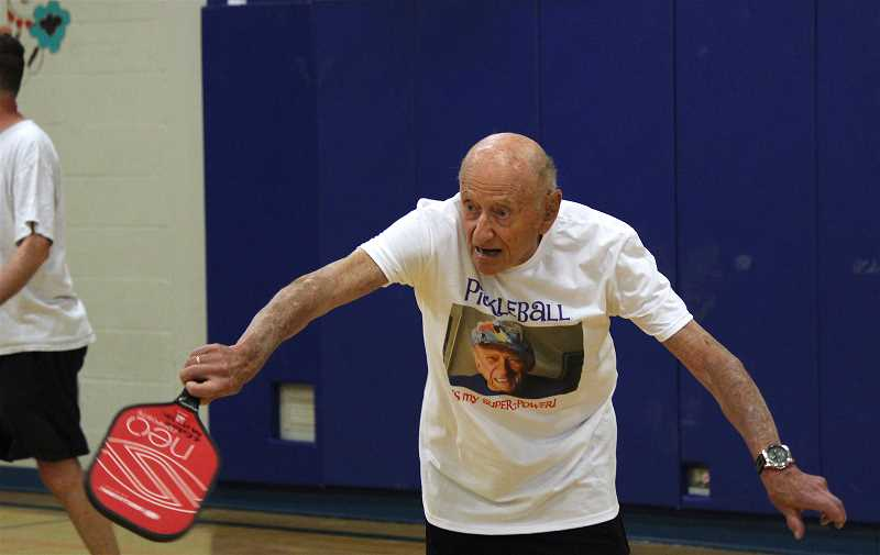 REVIEW PHOTO: SAM STITES - George Kent says he likes pickleball because it reminds him of his days playing tennis, which he was forced to give up -- along with downhill skiing -- two years ago.