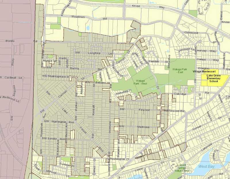 PHOTO COURTESY OF THE CITY OF LAKE OSWEGO - The darker portions of the map are the unincorporated areas of the Lake Forest neighborhood. Because I-5 counts as the city border, the entire neighborhood could be annexed as a single island if the council chose to pursue that policy.