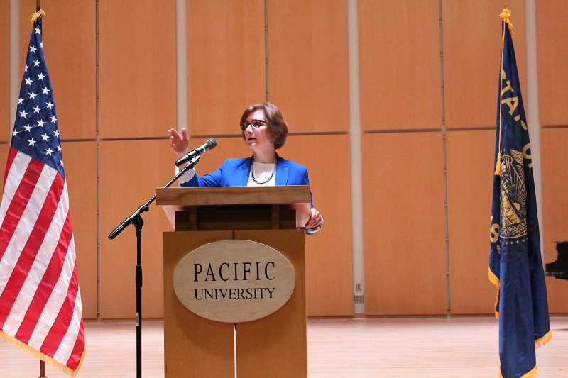 STAFF PHOTO: OLIVIA SINGER - Suzanne Bonamici held a town hall meeting at Pacific University on Tuesday, March 27.