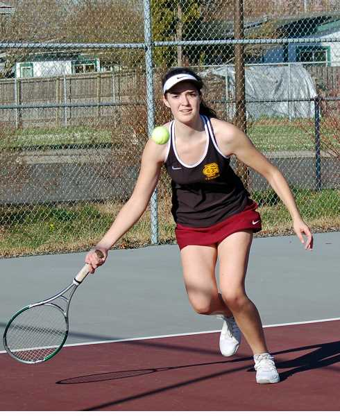 COURTESY PHOTO - Forest Grove senior Jacqueline Frawley prepares to hit a groundstroke during a match earlier this season at Forest Grove High School.