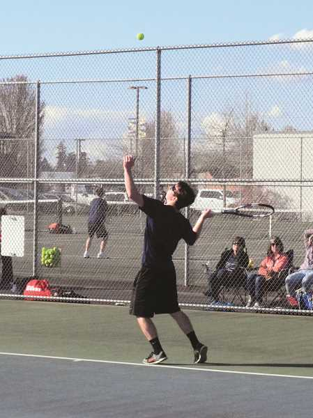 HERALD PHOTO: TANNER RUSS - Canby boys tennis team seeks constant improvement this season against Three Rivers League competition.