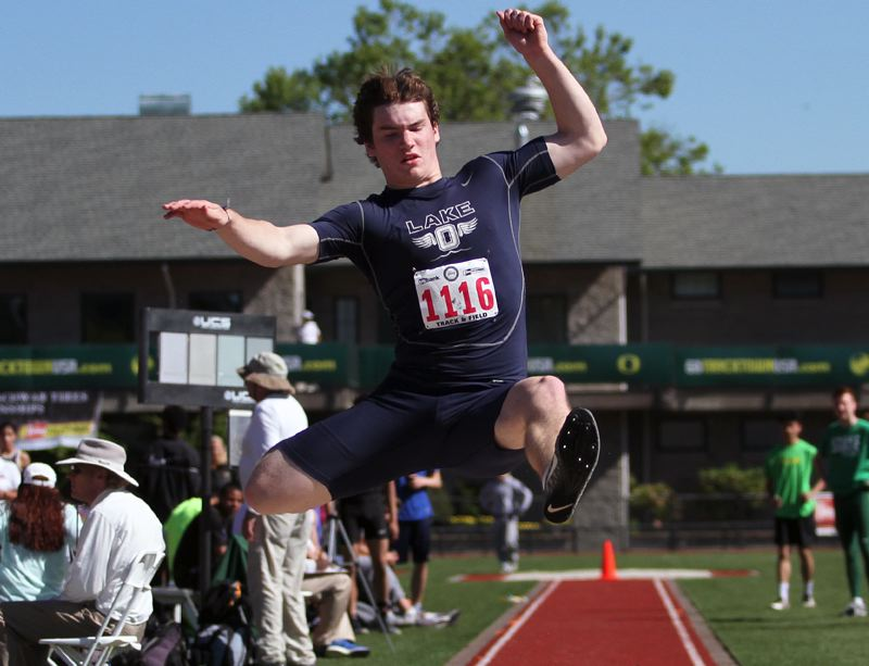 REVIEW FILE PHOTO - Lake Oswego junior Collin Bracken is back to lead the Lakers in 2018 after winning the TRL district long jump championship a year ago.