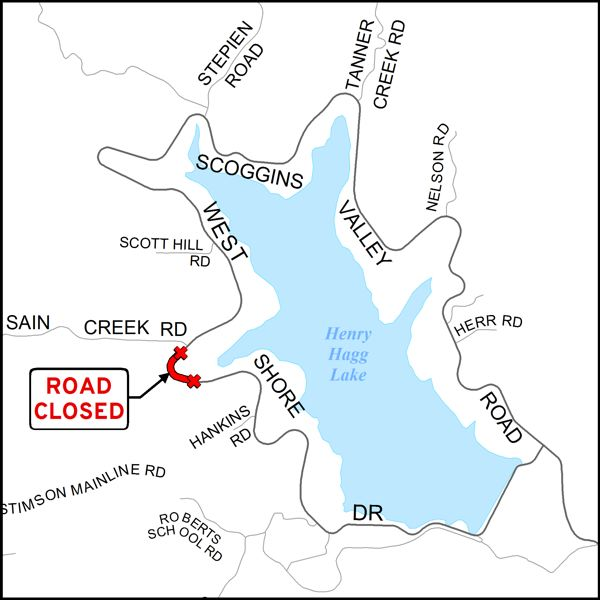 COURTESY MAP: WASHINGTON COUNTY DEPARTMENT OF LAND USE & TRANSPORTATION - The area of a scheduled road closure on West Shore Drive at Henry Hagg Lake is marked in red.