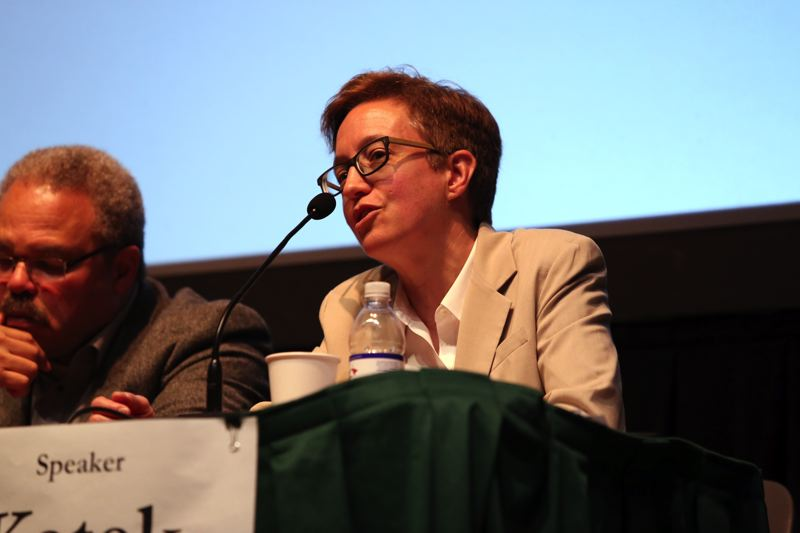 TRIBUNE PHOTO: JESSIE DARLAND  - Speaker Tina Kotek responds to an audience member's question during the Queer Town Hall at PSU Wednesday night. Kotek was the first out lesbian speaker in the nation when she took office in 2013.