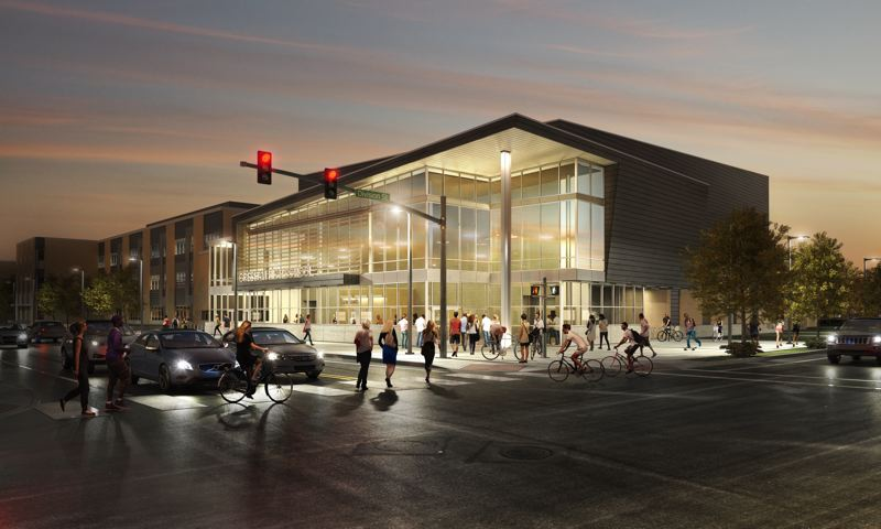 RENDERING COURTESY OF GRESHAM-BARLOW SCHOOL DISTRICT - The glass-encased lobby of Gresham High Schools new theater will create a dramatic visual anchor at Main Avenue and Division Street.