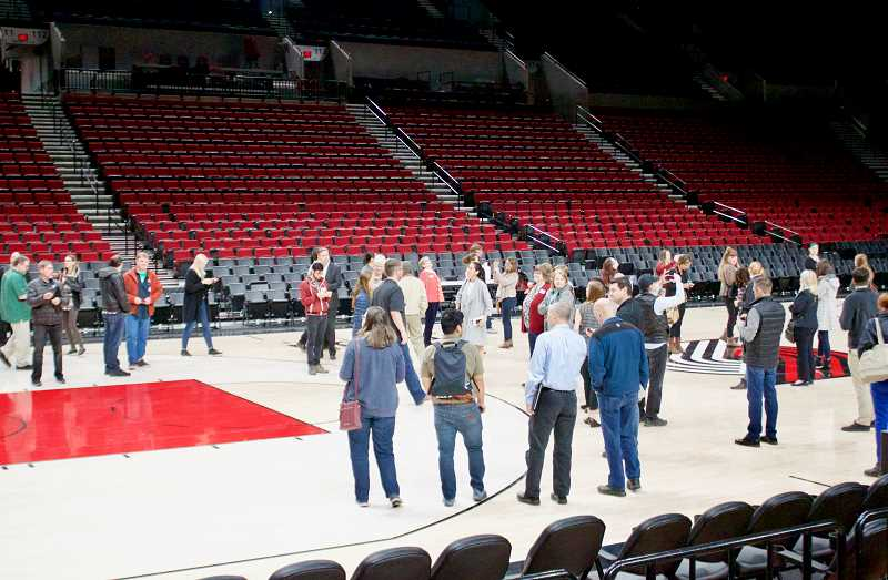 OUTLOOK PHOTO: CHRISTOPHER KEIZUR - A tour of the Moda Center in Portland brought together sustainable businesses from around the region in an effort to brainstorm more ways to be green.