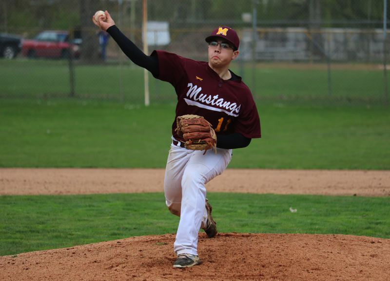 PAMPLIN MEDIA: JIM BESEDA - Milwaukie senior Dustin King pitched 2 1/3 innings in relief of starter Keith Doherty in Wednesday's non-conference game against Centennial at Sckavone Stadium in Portland.