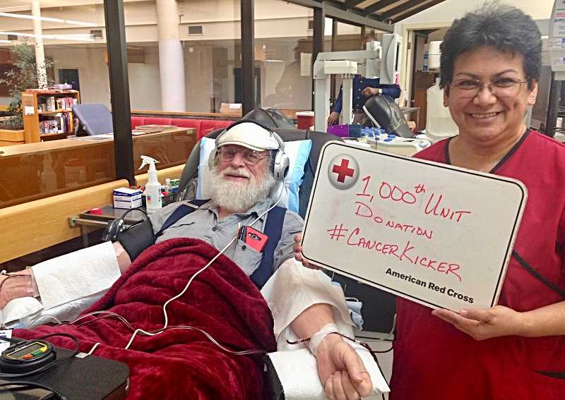 CONTRIBUTED PHOTO: RED CROSS - Gresham resident Randall Pritchett has donated 1,000 blood platelet units to the American Red Cross.