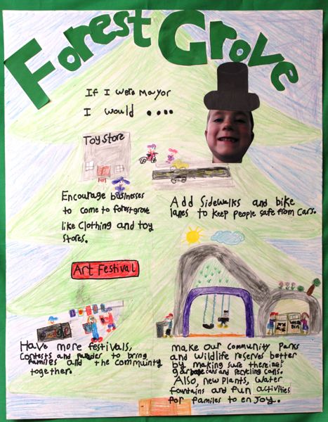 COURTESY PHOTO: CITY OF FOREST GROVE - This poster by Brockton Thatcher was last year's winner in the 'If I Were Mayor...' contest for Forest Grove fourth- and fifth-graders.